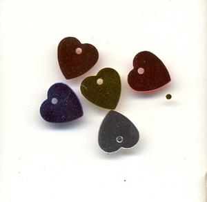 Sequins, Hearts, mixed colours - 7mm