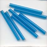 Glass tube beads 30mm - Aiguemarine