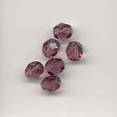 Faceted glass beads - 6mm - Amethyst