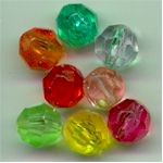 Mixed 10mm faceted plastic bead