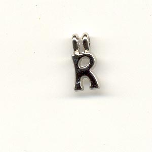 Carved Metal Alphabet Beads - R