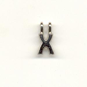 Carved Metal Alphabet Beads - X