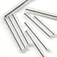 2x20mm Silver lined glass bugle beads : Silver