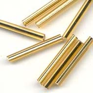 2x20mm Silver lined glass bugle beads : Gold