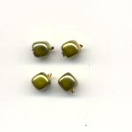 Glass pearls - 5mm square - Olive