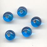 7mm round transparent  glass lamp beads - Turquois