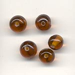 7mm round transparent  glass lamp beads - Amber