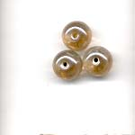 10mm decorated glass lamp beads - Ochre