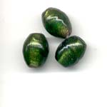11X9mm oval glitter lamp beads - emerald