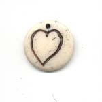 16mm Carved round bone disc - Heart