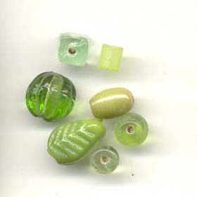Color coordinated glass beads - Spring Green
