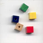 Square polished wooden beads - 6mm
