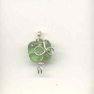 Indian wire wrapped beads - square - apple green
