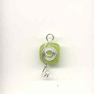 Indian wire wrapped beads - square - lime green