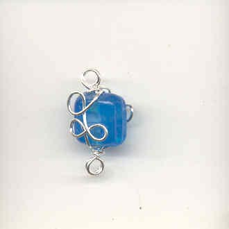 Indian wire wrapped beads - square - turquoise