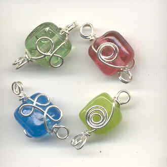 Indian wire wrapped beads - square - mixed