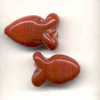 Indian glass opaque fish - Red