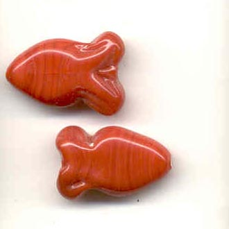 Indian glass opaque fish - Cranberry