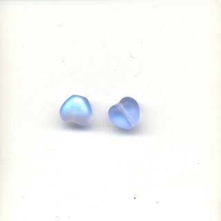 6mm glass hearts - AB Light Blue