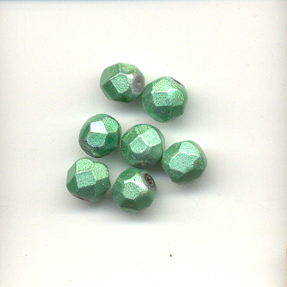 Faceted glass beads - 6mm - Frosted turquoise