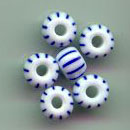 Striped blue/white 4mm pony beads