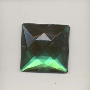 Sew-on acrylic stones - square, emerald