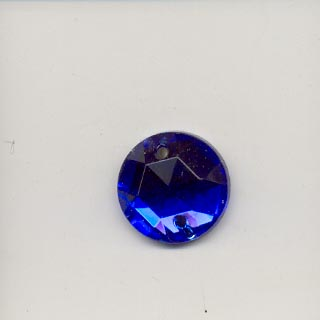 Round glass embroidery stone-13mm, Sapphire