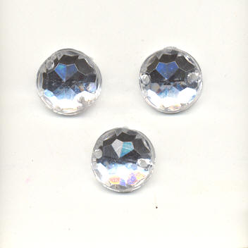 Sew-on acrylic stones - 10mm Round - Crystal