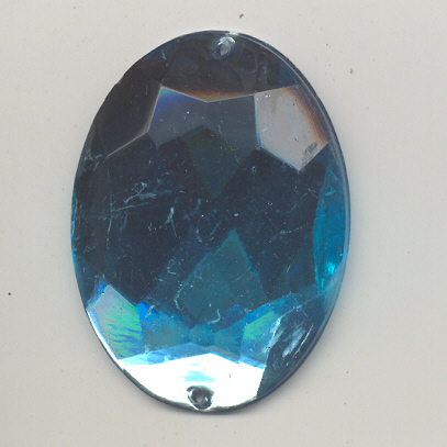 Sew-on acrylic stones - 31x42mm - Oval - Aquamarin