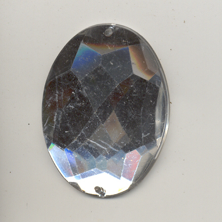 Sew-on acrylic stones - 31x42mm - Oval - Crystal