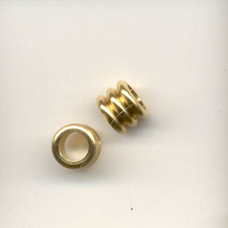 Three part brass spacer bead, silver coloured