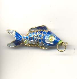 Articulated cloisonne goldfish - Turquoise
