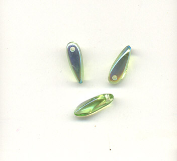 AB moon bead -  3x11mm - dagger - emerald